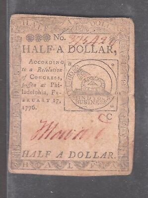 Continental Congress half dollar note February 17, 1776