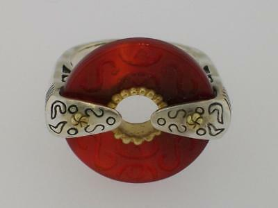 "Silpada Sterling Silver ""regal"" Carved Carnelian Ring R2451 Retired Size 7"