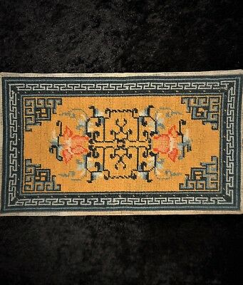 Oriental Floral Vtg Finished Dollhouse Rug or Pillow Top Completed Needlepoint
