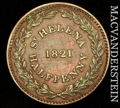 St Helena: 1821 Half Penny Token- Extra Fine+/almost Uncirculated !! #w899
