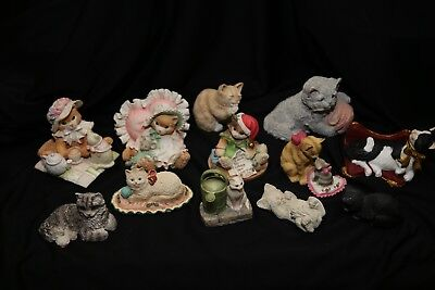 Vintage calico kittens sandy cast stone critters cat lot Corlett collectibles