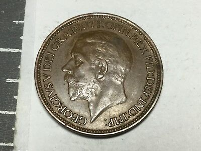 GREAT BRITAIN 1927 1/2 Penny coin near extra fine condition