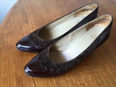 Vintage Christian Dior Souliers Chocolate Brown Leather and Suede Heels Sz 36.5