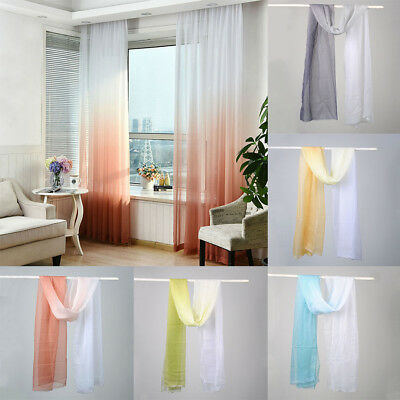 Gradient Color Curtain Home Decor Door Window Curtain Panel Sheer Valances Scarf