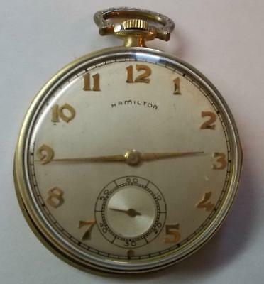 Hamilton 10s 17J Grade 917 YGF  Pocket Watch for Parts or Repair