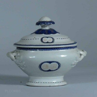 Circa 1800 Chinese Export Armorial Strap Handled Covered Vegetable Tureen