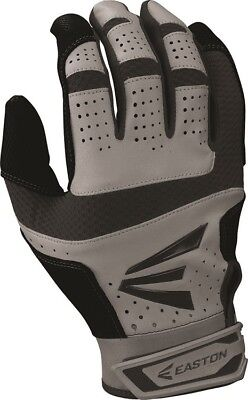 1 Pair Easton HS9 Hyperskin Adult Medium Grey / Black Batting Gloves A121589