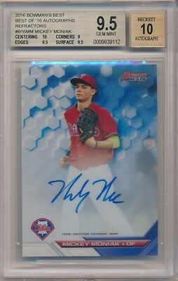 Mickey Moniak 2016 Bowman's Best Rc Refractor Autograph Sp Auto Bgs 9.5 Gem 10