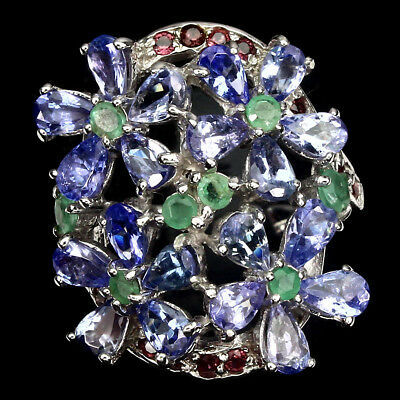 Gorgeous Pear Cut Tanzanite Emerald Ruby 925 Sterling Silver Flower Ring Size 8