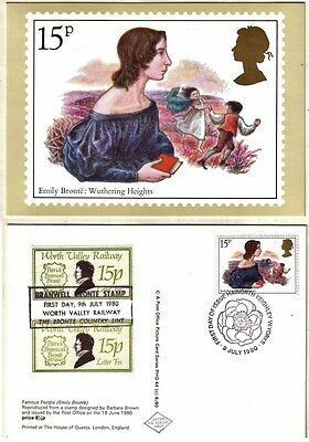 VERY RARE Error & Correct WORTH VALLEY RAILWAY 15p Stamps BRONTE FDC 9 JUL 1980