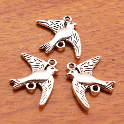 20Piece 21*17mm Lover Bird Charms Bails Tibetan Silver DIY Jewelry Finding 7105B