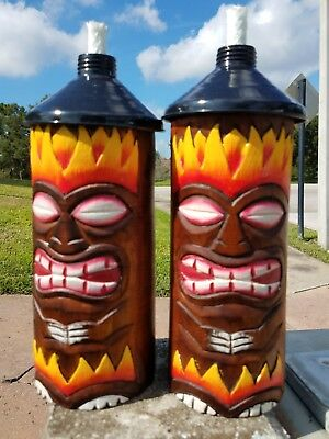 Commercial Grade Table Top Tiki Torches With Custom Handcarved Wood Tiki Heads