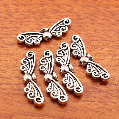 20 Piece 22*7mm butterfly Style Spacer Beads Charms Tibetan Silver Jewelry 7141B