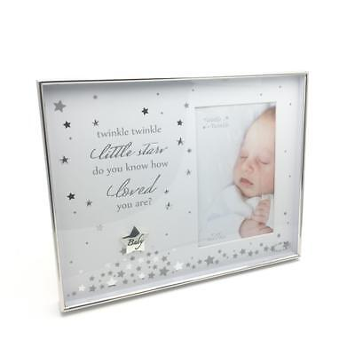 "Baby Photo Frame Silverplated Twinkle Twinkle Star 4"" x 6"" CG1282"