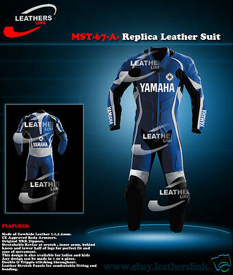 Yamaha Men Racing Motorbike Motorcycle Biker Leather Suit MST-67-A-(US 38,40,42)