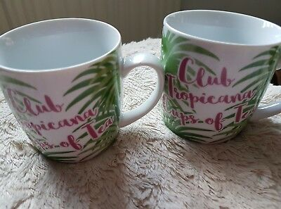 "Club Tropicana ""cups of tea"" mugs x 2 Wham George Michael"