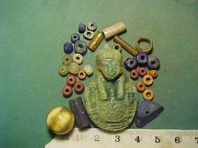 30+ Ancient beads circa 1000 BC- 700 AD +  Egyptian faience   amulet
