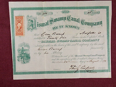 Antique 1870 Dismal Swamp Canal Company Stock Certificate w/ Revenue Stamp