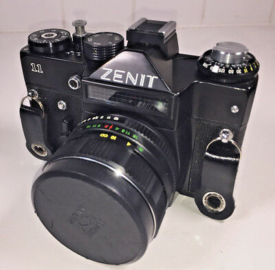 Zenit 11 SLR camera for 35mm film with Helios 58mm f2 standard lens & case