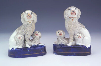 Antique Staffordshire Pottery Pair Of Texture Glazed Dogs - Restored But Lovely!
