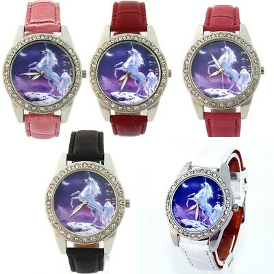 10pcs Mixed Women 's Girls Leather Cartoon Unicorns Quartz Wristwatches L36BM