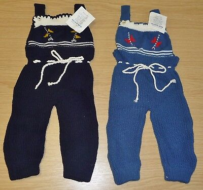 2 x VINTAGE 1970's UNWORN BABIES KNITTED DUNGAREES ASSORTED COLOURS (PATTERN B)