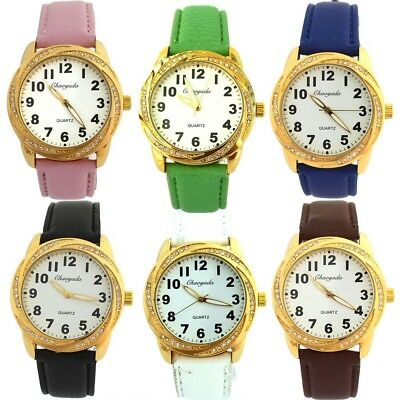12pcs Mixed Bulk Fashion Leather Round Dial Men Women Quartz Wrist Watch U74M