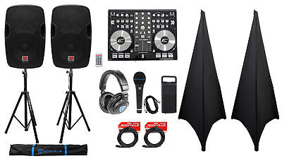 """DJ System Package w/ (2) 12"""" Active Speakers+Headphones+Microphone+Stands+Cables"""