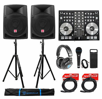"""DJ System Package w/(2) 12"""" Powered Speakers+Headphones+Microphone+Stands+Cables"""