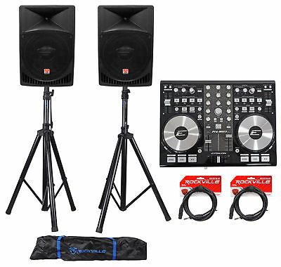 """DJ System Package w/ (2) 15"""" Active Speakers+Headphones+Microphone+Stands+Cables"""