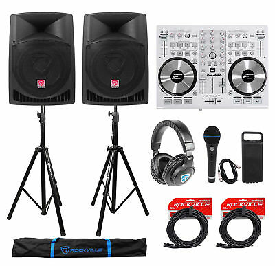 """DJ System Package: (2) 12"""" Active Speakers+Headphones+Microphone+Stands+Cables"""