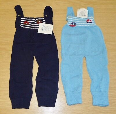 2 x VINTAGE 1970's UNWORN BABIES KNITTED DUNGAREES ASSORTED COLOURS (PATTERN G)