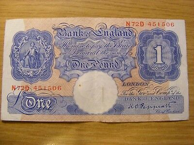 Emergency Blue One Pound Bank Note K O Peppiatt - N72D 451506  Used, still crisp