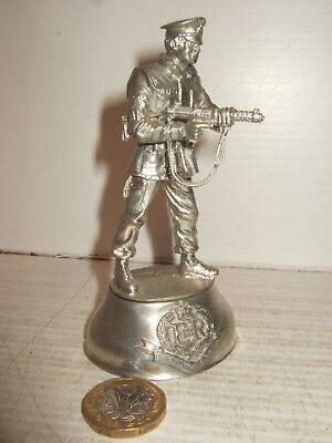 Charles Stadden Pewter Sculpture, Royal Military Police, Figure stands with SMG.