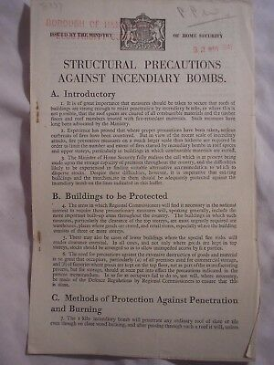 ARP Incendiary Bomb Precautions Civil Defence Hampstead London Blitz '41 History