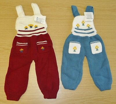 2 x VINTAGE 1970's UNWORN BABIES KNITTED DUNGAREES ASSORTED COLOURS (PATTERN N)