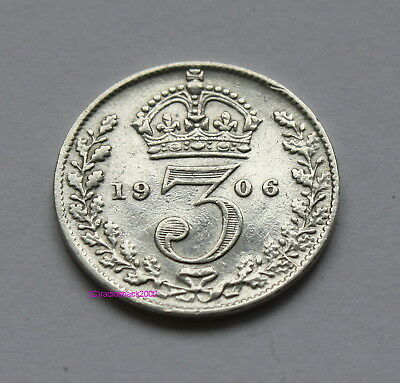 BRITISH EDWARD VII 1906 Silver 3d threepence thrupence. 92.5% (Sterling) silver
