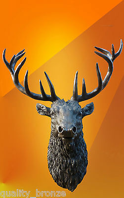 Bronze Life Size Stags Head Statue Trophy Animal Deer Hot Cast Stag Sculpture