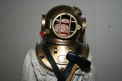 Vintage Palitoy Action Man Deep Sea Diver Black Painted Hair - Stand is Included