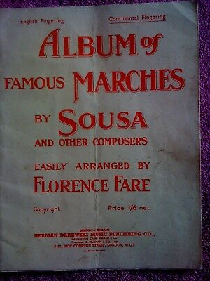 Album Of Famous Marches By Sousa And Others. 11 Pieces. Vintage Song Book.