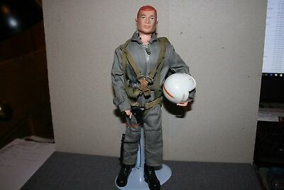 Vintage Palitoy Action Man Survival Pilot Painted Red Hair - Stand is Included