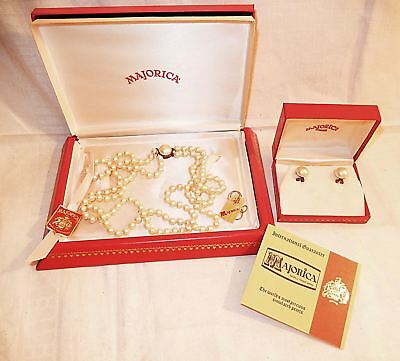 Mint Boxed Estate Majorica Pearl Double Strand Necklace +Tags & Boxed Earrings