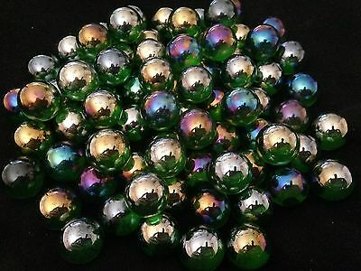 10 x 16mm Lustered Green HOM Glass Marbles Collectors or traditional game solita