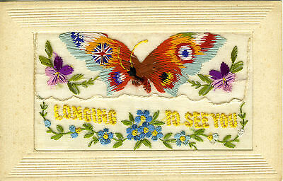 "1914-18 Ww1 Embroidered Silk Butterfly Postcard "" Longing To See You "" + Pocket"