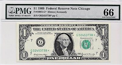 $1 1969 Federal Reserve Star Note Chicago S/N G02453738* PMG 66 Gem Unc