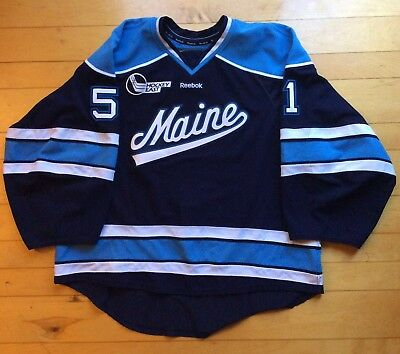 Game Worn Used UMaine Hockey Jersey - U Of Maine - #51 Ouellette - RARE Goalie