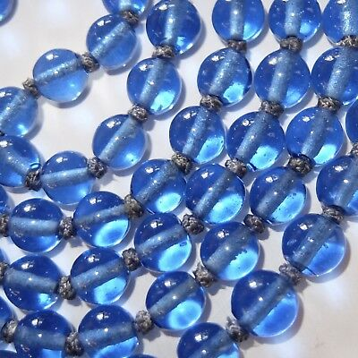 Long Antique Chinese Peking Blue Glass Bead Necklace