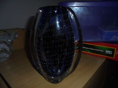 Large purple art glass vase very heavy