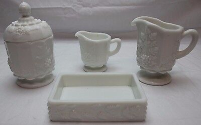 4 piece lot of Milk Glass candy dish cup milk jar cream vintage M mark Hand Made