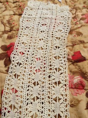 Vintage Antique Crochet Insertion Lace Fabric Trim Blouse front